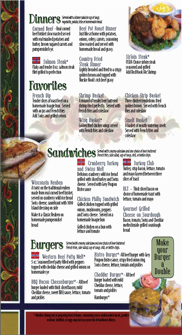 Norske Nook Menu - Dinner - Favorites - Sandwiches - Burgers