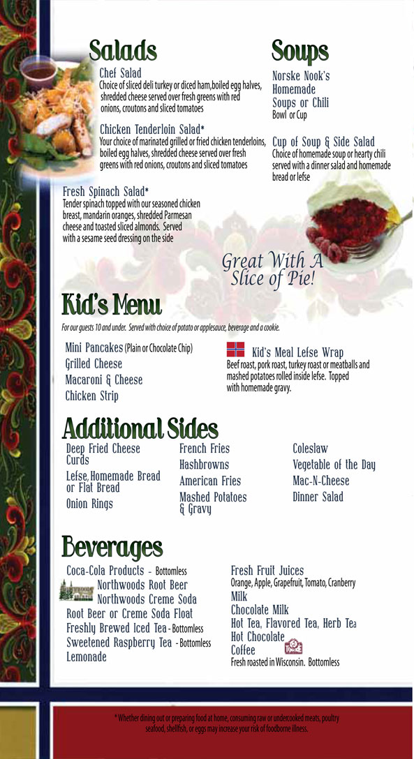 Norske Nook Menu - Salads - Soups - Kids Menu - Sides - Beverages